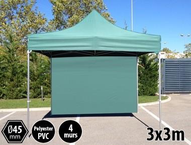 Tonnelle pliante PRO aluminium 3x3m vert + 4 murs