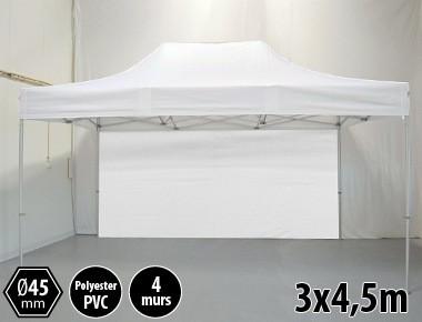 Tonnelle pliante PRO aluminium 3x45m blanc + 4 murs