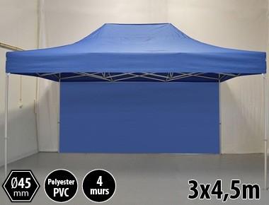 Tonnelle pliante PRO aluminium 3x45m bleu + 4 murs