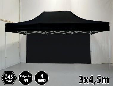 Tonnelle pliante PRO aluminium 3x45m noir + 4 murs