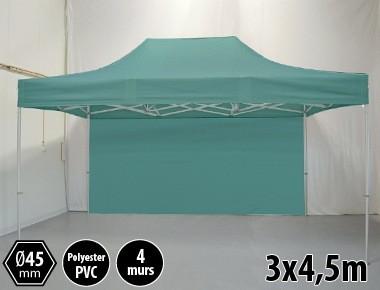 Tonnelle pliante PRO aluminium 3x45m vert + 4 murs