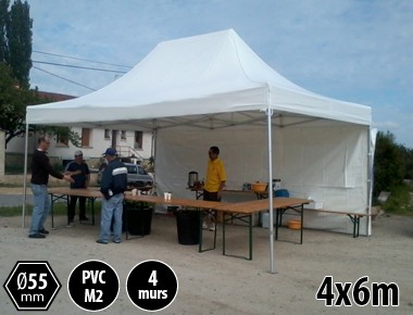 Tente pliante 4x6 toit PVC structure alu