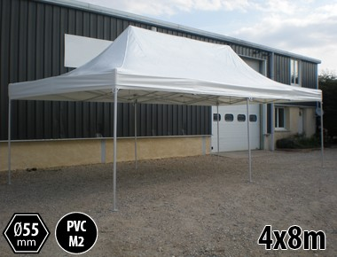 Barnum pliant pro 4x8 sans mur alu & PVC 550g/m²